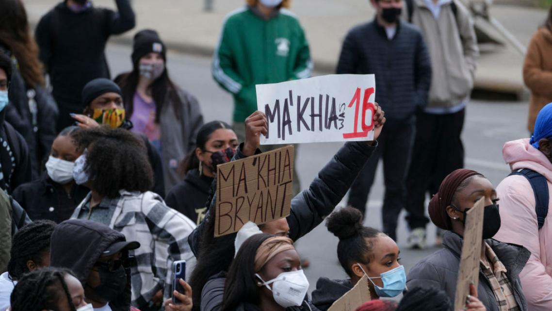 Students and demonstrators march to protest the killing of MaKhia Bryant, 16, by the Columbus Police Department