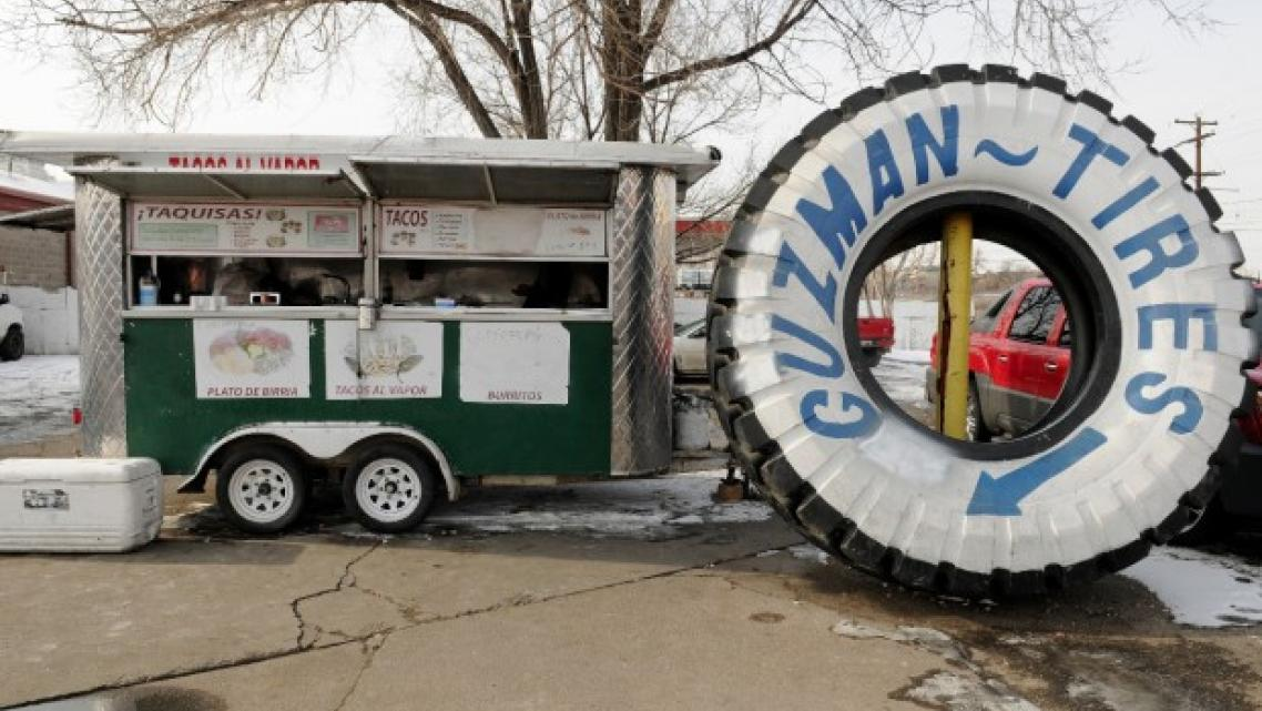 A loncheria cart in the parking lot of a tire store in Globeville. Credit: Stephen Swofford