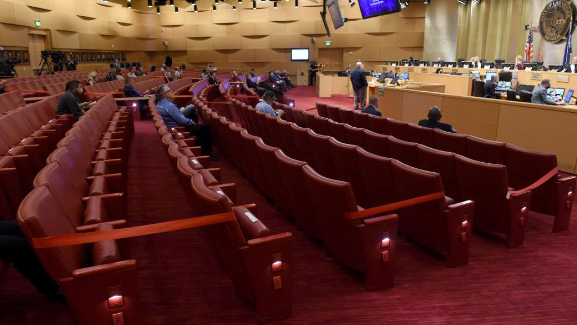 A city council meeting in Las Vegas, where every other row of seats was blocked off for social distancing.