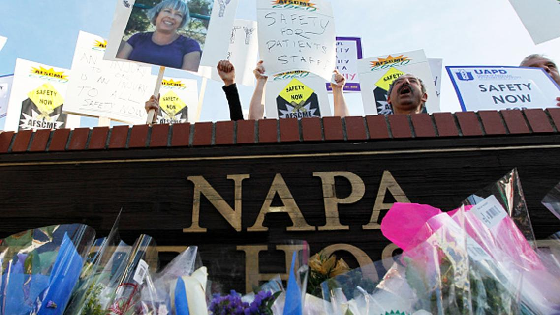 Nearly 200 Napa State Hospital workers demonstrate for safer conditions in 2010.
