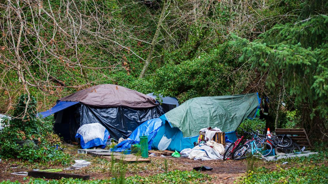A homeless encampment in Olympia, Wash.