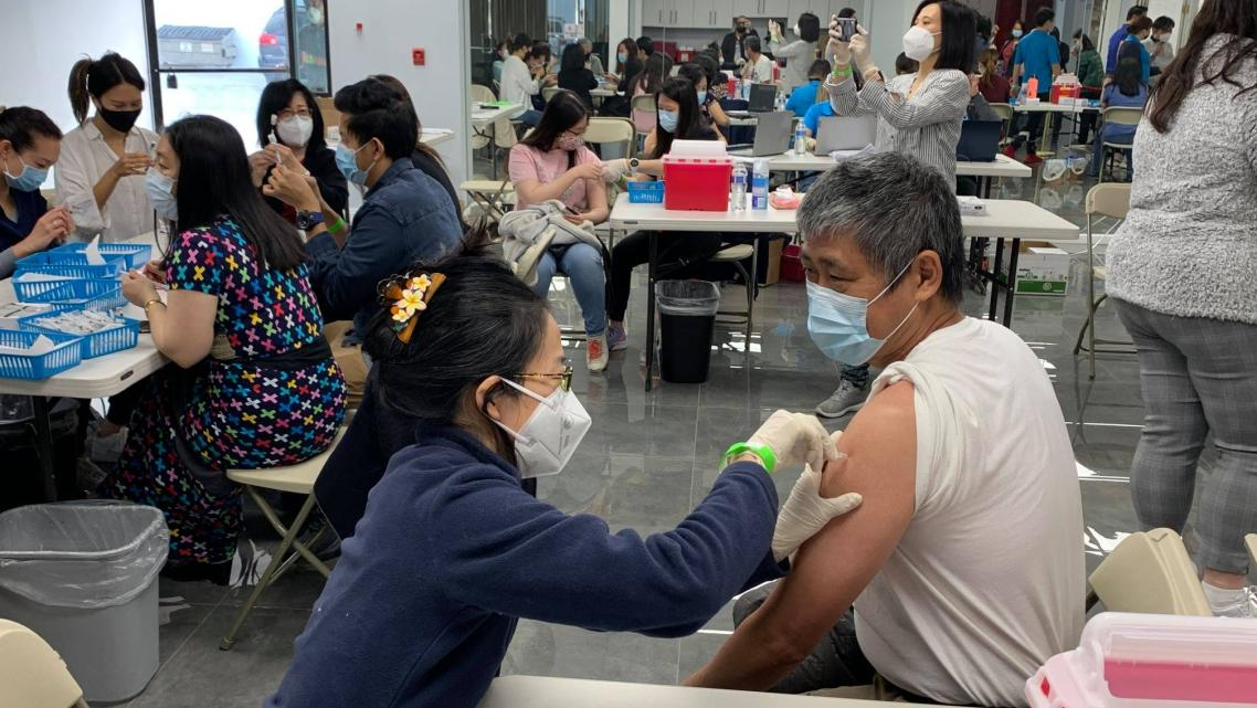 A vaccination clinic for the Burmese community on April 3 in El Monte, California.