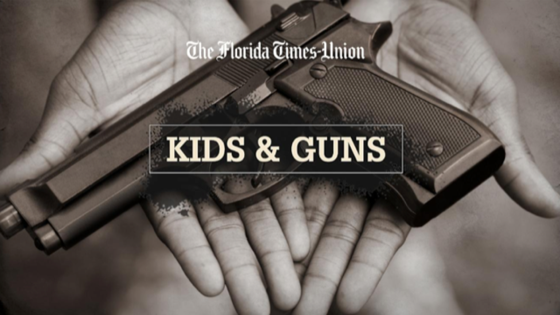 This photo illustration features an adult holding a toy gun. [Jeff Davis/Florida Times-Union]