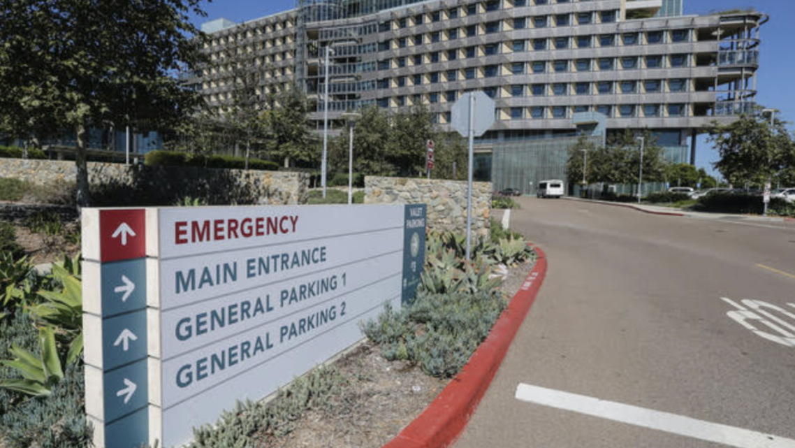 A sign points the way to the emergency room at Palomar Medical Center Escondido.