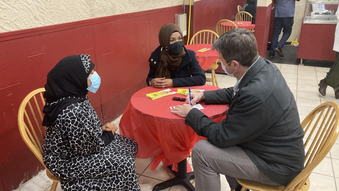 Tim O'Shei interviews the owner of Mogadishu Food, a Buffalo, New York restaurant that is operated by refugees from Somalia.