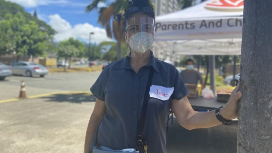 Josie Lesa is a Samoan interpreter. She volunteered at a COVID-19 testing event at Kuhio Park Terrace in Kalihi Wednesday.