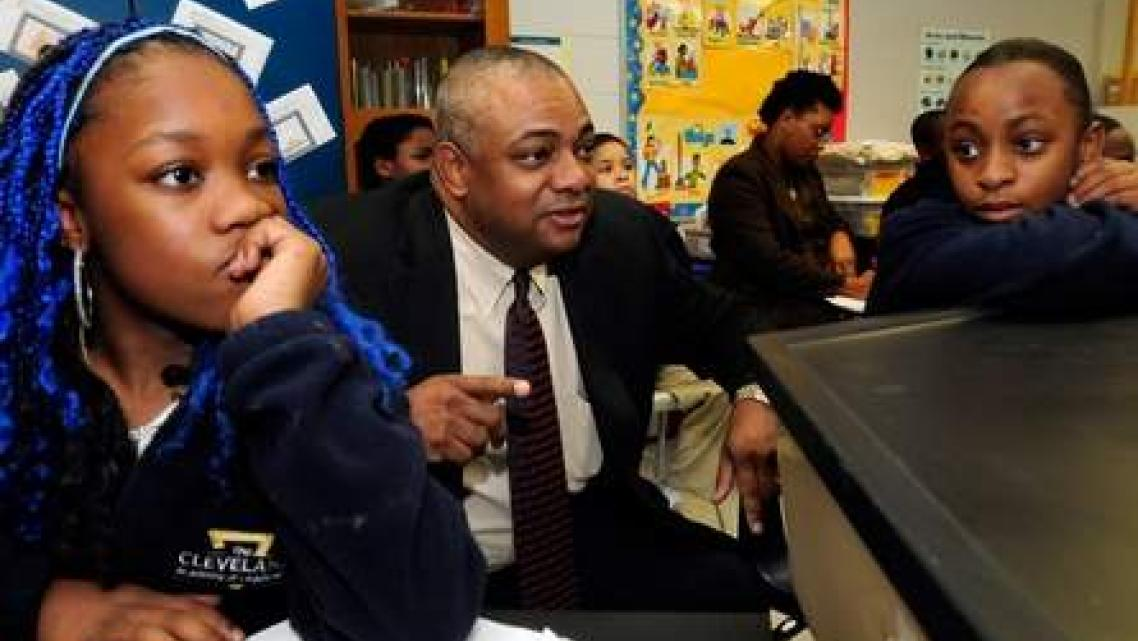 Fred Logan, principal at the Cleveland Academy of Leadership in the Northside neighborhood, has the challenge of improving an elementary school where 99 percent of the children are eligible for the federal free or reduced lunch program.