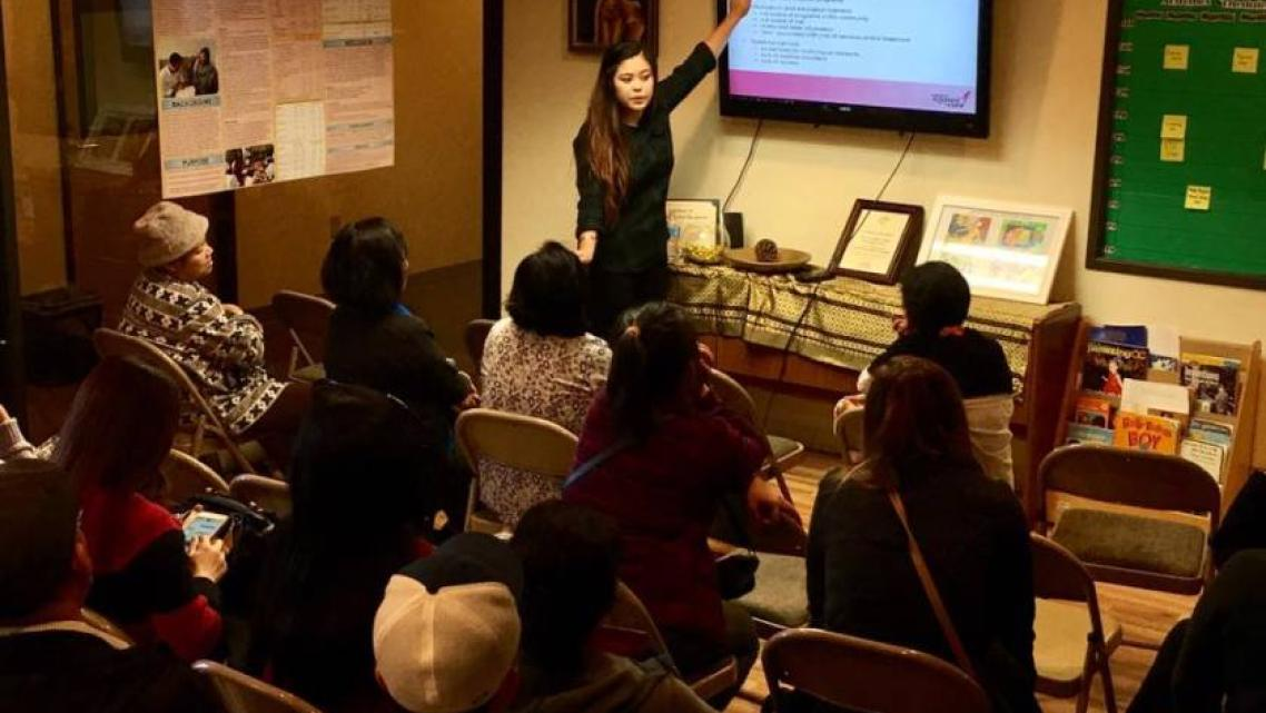 Cindy Sicheang Phou of the Cambodian Family Community Center leads a breast health education workshop, funded by Susan G. Komen,
