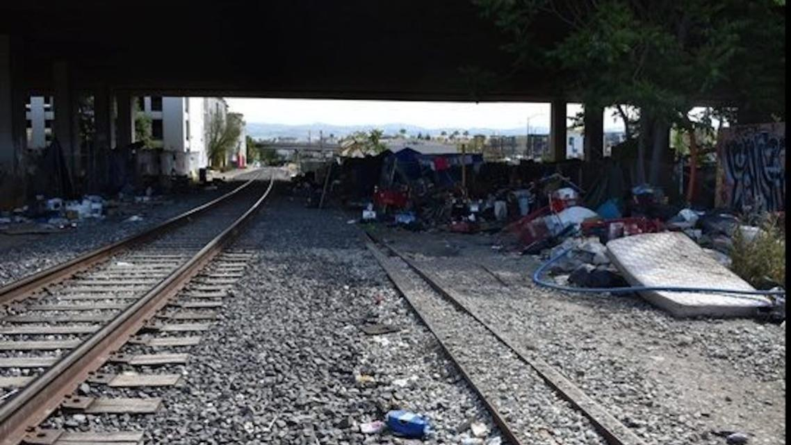 Homeless encampments near Union Pacific tracks in San Jose.