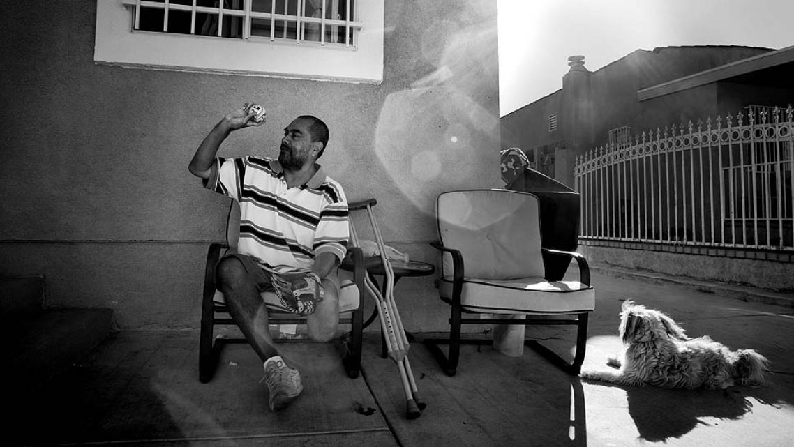 Carlos Sanchez ignored his diabetes for 15 years and failed to take his medication. It wound up costing him part of a leg. Here, he plays catch with his nephew outside his brother's home in South Los Angeles.