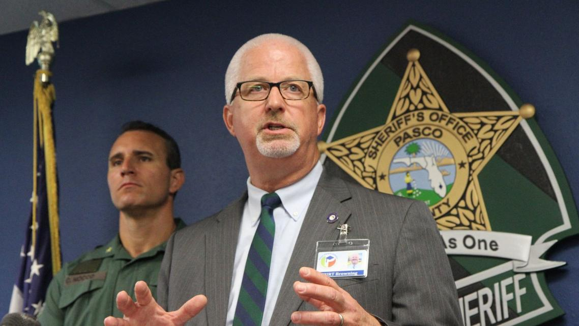 Pasco Schools superintendent Kurt Browning with Pasco Sheriff Chris Nocco at a 2015 press conference.