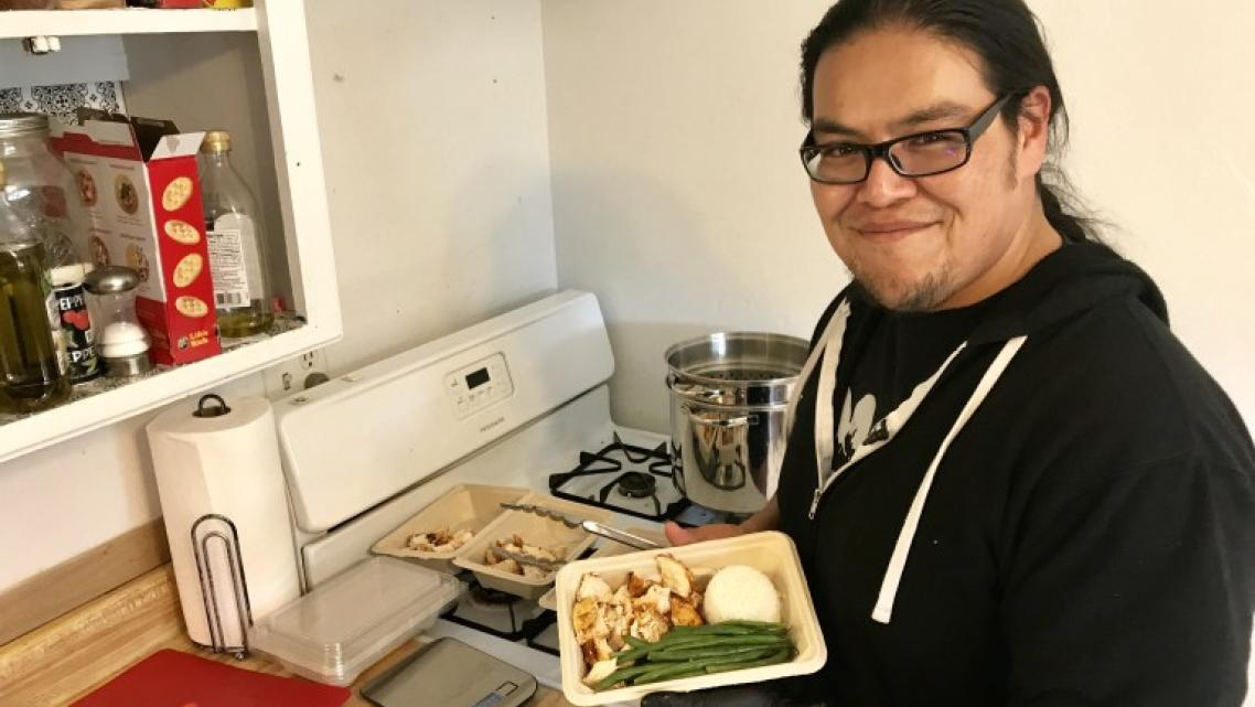 Navajo actor and health advocate Loren Anthony prepares meals in his house in Gallup, New Mexico. (Photo-Antonia Gonzales)