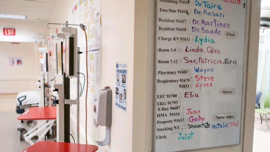 An assignment chart in the ER at County USC, one of the busiest emergency departments in the state. (Photo by David Crane, Los A
