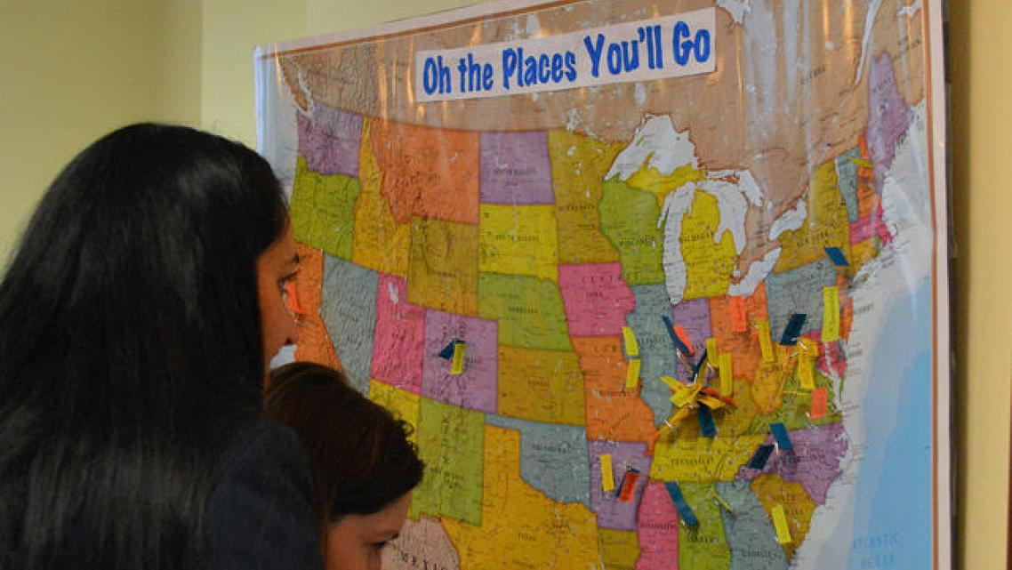 Medical students in Louisville put their names on a U.S. map showing where they're headed for the residencies.