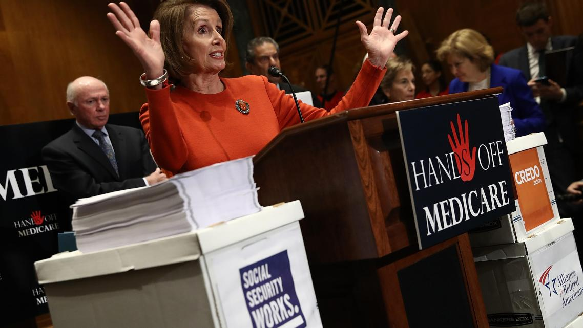House Minority Leader Nancy Pelosi (D-CA) speaks at a press conference.