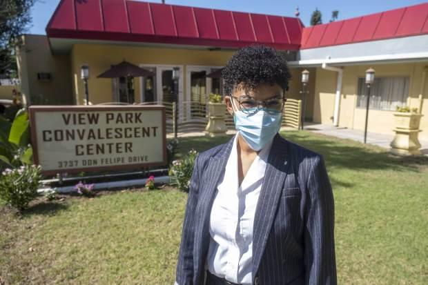 Amber Gooden of View Park Convalescent Hospital in Los Angeles, Wednesday, August 26, 2020. (Photo by Hans Gutknecht, Los Angeles Daily News/SCNG)