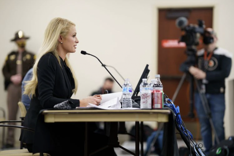 (Trent Nelson   The Salt Lake Tribune) Paris Hilton recounts her experiences as a teenager at Provo Canyon School during a hearing on SB-127 to the Senate Judiciary, Law Enforcement, and Criminal Justice Standing Committee in Salt Lake City on Monday, Feb. 8, 2021.