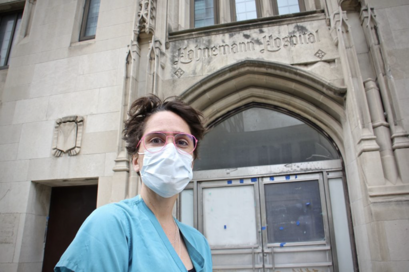 Dr. Shawn Mattson stands outside Hahnemann Hospital on North Broad Street, where she served her residency before the hospital closed in 2019. (Emma Lee/WHYY)