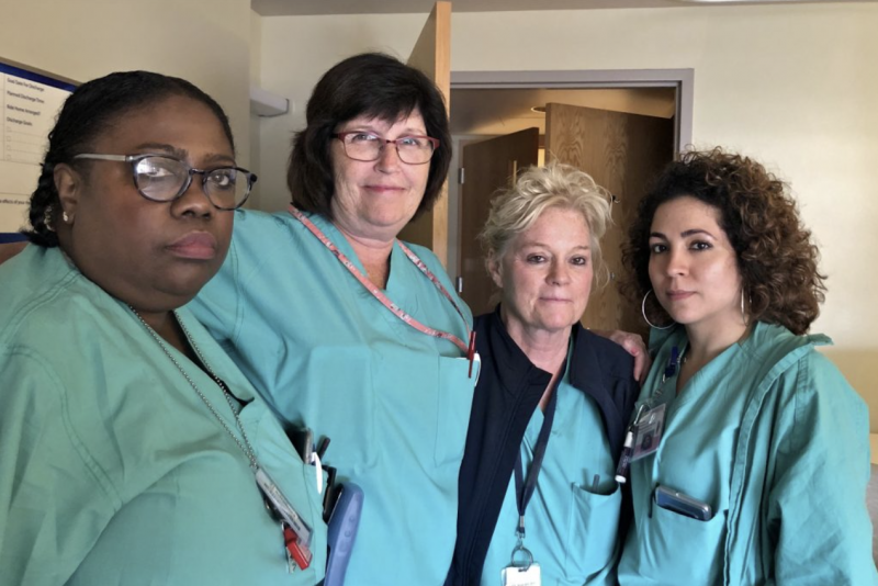 Nurses on the labor and delivery unit at Hahnemann, (from left) Lisa Myers, Claire Byrne, Ann Fitzsimmons, and Sasha Vazquez. (Emily Scott/WHYY)