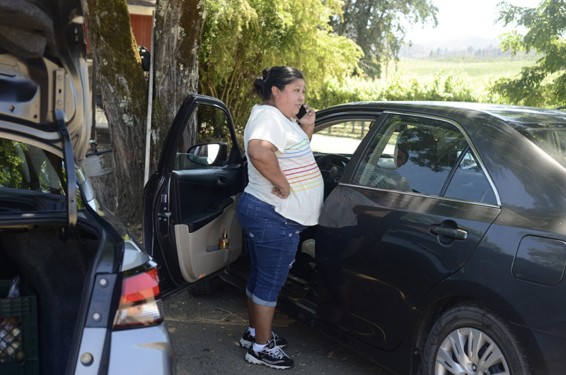 Diana Gomez Martinez lets a group of farm workers know the promotoras have arrived with food boxes on June 23 2021. Dana Ullman / The Mendocino Voice