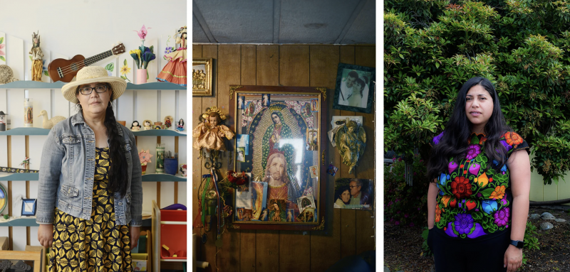 (left) A portrait of Graciela Botello, a promotora de salud known to many as 'Chela', at Nuestra Alianza de Willits' office on June 23 2021. (center) Religious objects and family photos adorn the wall of the Gutiérrez home. (right) Portrait of Keily Becerra, a promotora and coordinator for the program. Dana Ullman / The Mendocino Voice