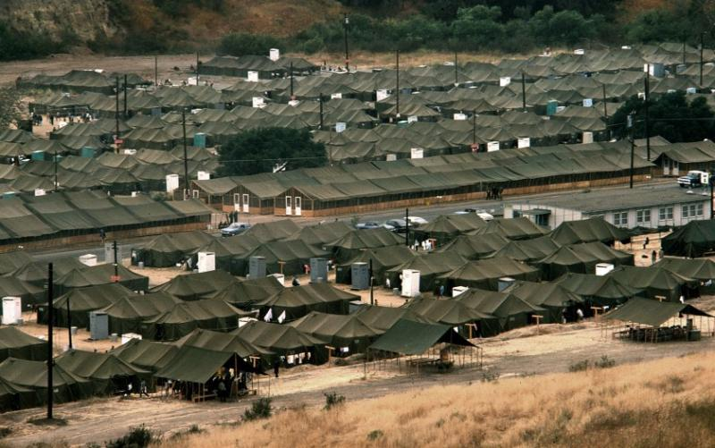 A tent city at Camp Pendleton in 1975 housed Vietnamese refugees who fled after the fall of Saigon. (Photo by Don Bartletti)