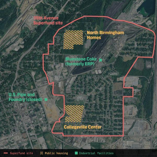 The map shows the 35th Avenue Superfund site in North Birmingham. The Collegeville Center and the North Birmingham Homes both are within the boundary of the Superfund site, an area that's endured industrial pollution for years. Though the EPA says the area is cleaned up, the agency's own records show that there are still toxic chemicals in the area. The map may not have the full extent of the Superfund location. Map: APM Reports, The Intercept