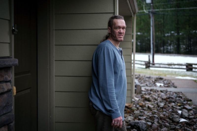 Floyd Kimball outside his home in Wallace, Idaho, on Jan. 5, 2021. Photo: Rebecca Stumpf for The Intercept