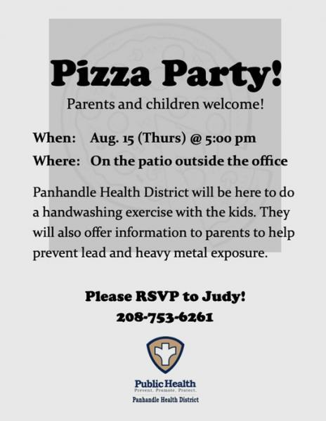 Although the local health department did not remove lead from the apartment complex, it did hold a pizza party at which children were encouraged to wash their hands. Flyer: Panhandle Health District
