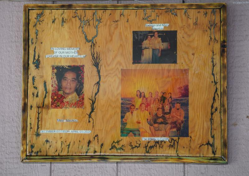 After Mary died, the Mauricios hung photos on the wall of their lanai to celebrate and honor her.