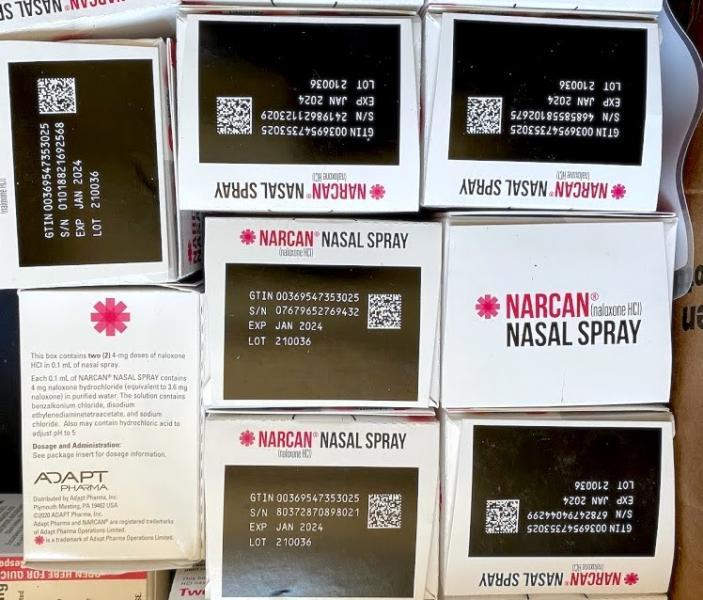 The nasal spray form of Narcan, from the Punks With Lunch outreach wagon. (Ariel Boone)