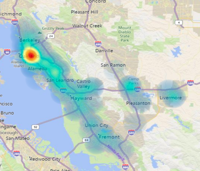 """Opioid overdose """"heat map"""" supplied to KPFA and Street Spirit by Alameda County illustrates ZIP codes where emergency services are most often called for opioid overdoses."""