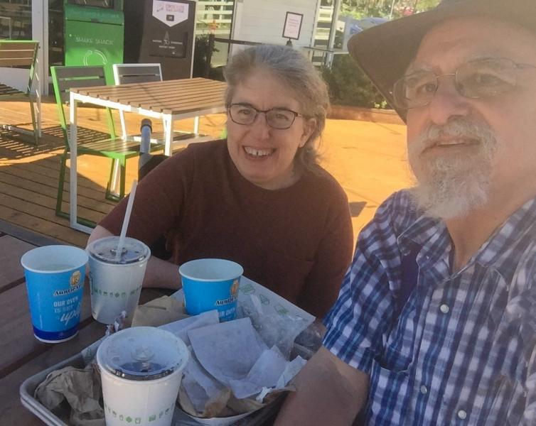 Ingrid and Ken celebrated their first outing after being vaccinated by visiting Shake Shack for burgers and fries. Credit: Ken Stein