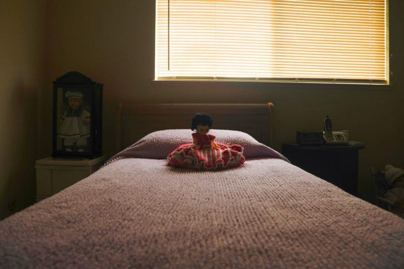 A doll rests on a bed in the only bedroom of Mary Martinez's Salinas apartment. Aug 7, 2020. Ayrton Ostly/The Californian
