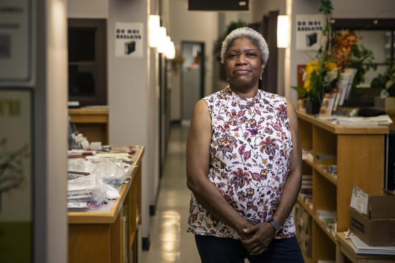 Yvette Baptiste, executive director of the Eastern LA Family Resource Center in their offices in August. Photo by Martin do Nascimento / Resolve Magazine.