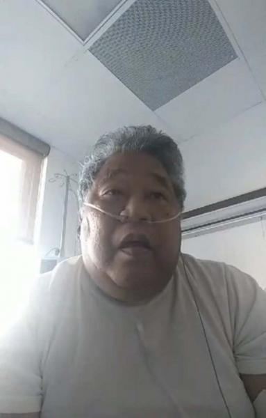 Maitha Jolet uses a livestream from his hospital room to warn family and friends of his community about the risks of COVID-19 after contracting the disease himself. He later recovered. (Courtesy Maitha Jolet)