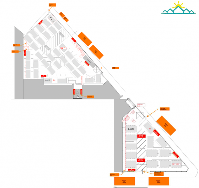 The layout for 76 tiny home cabins across two parking lots at 33 Gough Street. (Courtesy: DignityMoves)
