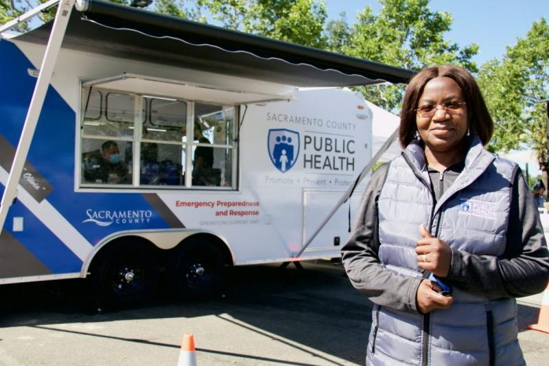 Dr. Olivia Kasirye, Sacramento County's Public Health Officer has driven the County's response to COVID-19. Dr. Kasirye helped launch mass vaccination sites and trailers to go to areas like Valley Hi, where vaccination rates have been low. Credit: Ray Johnson / OBSERVER