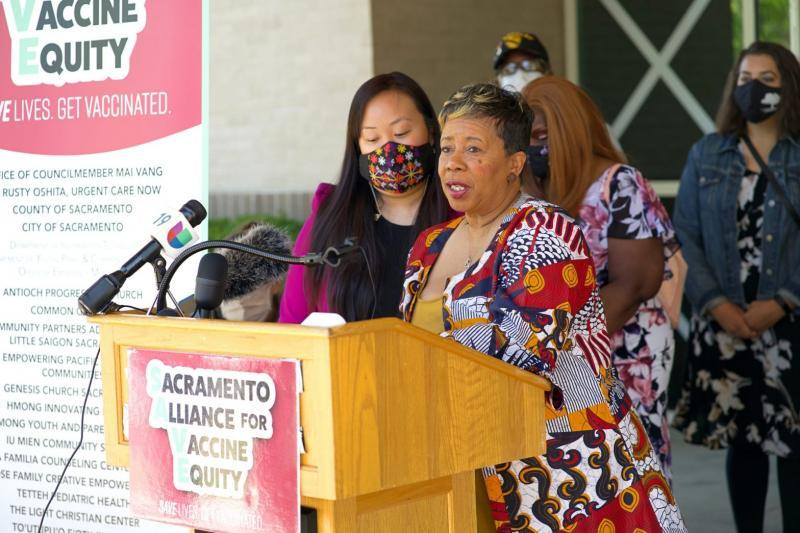 City Councilmember Mai Vang, left, and a coalition of other community-based organizations, like the Sacramento NAACP, led by Betty Williams, right, in bringing the vaccine to vulnerable residents in South Sacramento. Vang, who represents District 8, says the group will continue to work for language equity, vaccine access and much-needed community investment. (Credit: Special to OBSERVER)