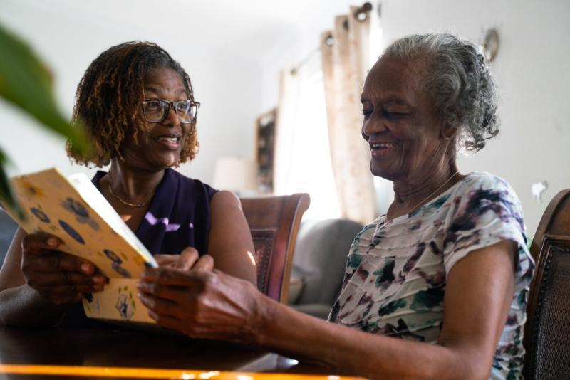 Sharon Saffold, left, is close with her mother, Julia, 89, who lives with dementia. She and her three sisters share in her care and are working to keep the local senior safe during the continued pandemic. Credit: Louis Bryant III / OBSERVER