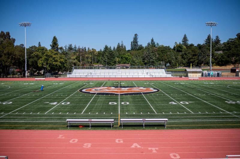 The football field and track at Los Gatos High School is empty during summer vacation on July 21, 2021. (Beth LaBerge/KQED)
