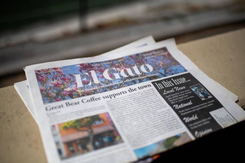 A print copy of El Gato News, the student-led paper for Los Gatos High School. (Beth LaBerge/KQED)