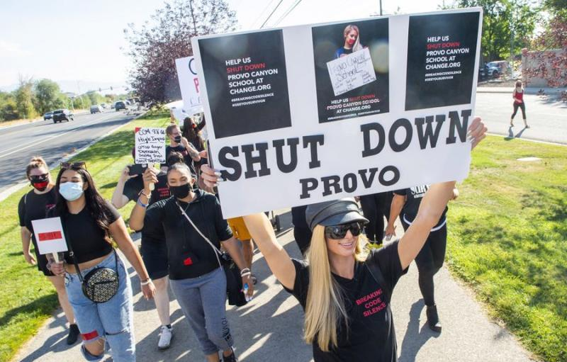 (Rick Egan   The Salt Lake Tribune) Paris Hilton leads a march to the Provo Canyon School, during a rally calling for the closure of Provo Canyon School, a residential treatment center in Utah she attended when she was a teen, on Friday, Oct. 9, 2020.