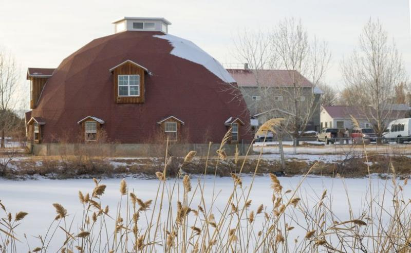 (Leah Hogsten | The Salt Lake Tribune) Cedar Ridge Academy has a new owner and a new name as the Makana Leadership Academy, Dec. 16, 2020. Cedar Ridge's dilapidated geodesic domes are mostly uninhabitable throughout 109-acre campus, including the large dome pictured that was originally built as a karate dojo and was later used as a barn. Makana Leadership Academy only uses one dome structure for sound meditation group therapy.