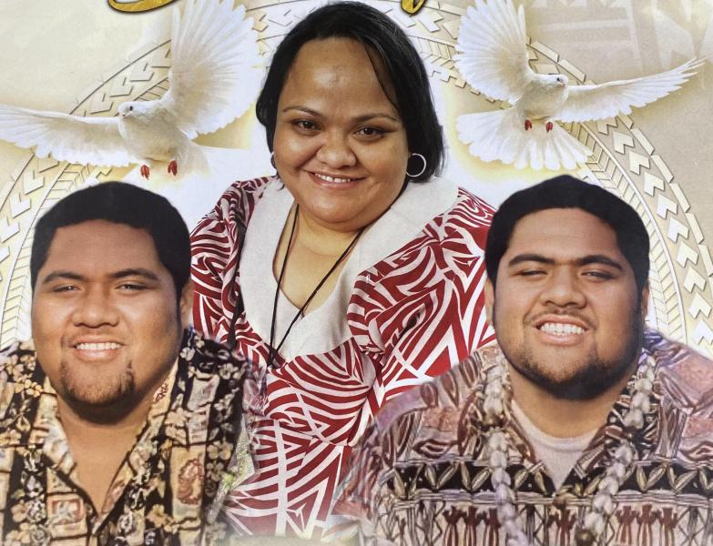 """Twin brothers Joey """"Faleono"""" Savea and Joel """"Seali'i"""" Savea, 23, and their cousin Emily """"Fia"""" Memea, 40, all died of COVID this summer in a span of two weeks. Photo courtesy of Fourth Samoan Congregational Church."""