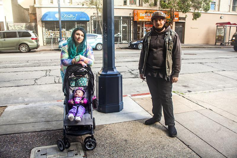 Having an infant makes it harder to find appropriate city-supported permanent housing. That's what Cimber Sims and Nathan Caine have heard from city officials. (Photo: Pamela Gentile)