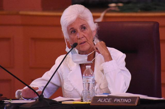 Santa Maria Mayor Alice Patino participates in a City Council meeting at Veterans Memorial Center on a recent Tuesday. Early in the pandemic, Patino pushed for more messaging to the Hispanic community, especially the Oaxacan population. (Photo by Randy De La Pena)