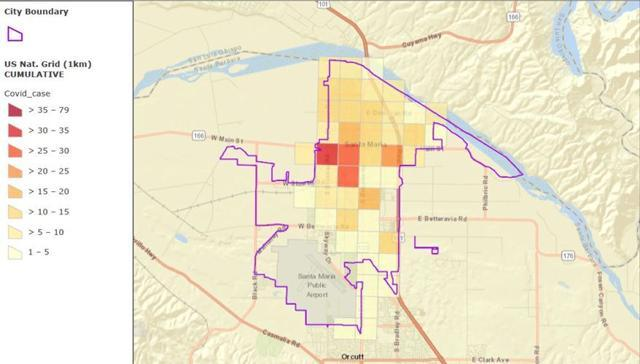 This map shared with the Santa Maria City Council in July 2020 outlines which square-mile areas in the city had the highest concentration of COVID-19 cases. The majority of cases were identified north of Betteravia and west of Broadway, with lower incidents of cases found south of Betteravia. (Source: Santa Barbara County Public Health Department)