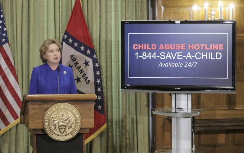 First Lady Susan Hutchinson talks about child abuse during the covid-19 outbreak on April 20, 2020, at the Governor's Conference Room in the state Capitol in Little Rock.