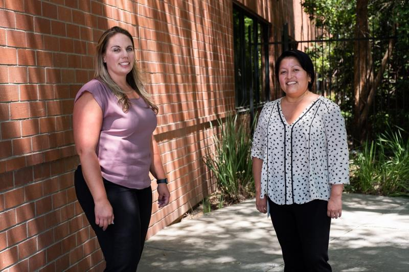 Detective Nicole Monroe and WEAVE Advocate Jessica Garcia at the Elk Grove Police Department. Andrew Nixon / CapRadio
